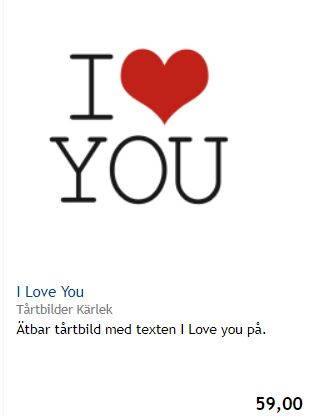I love You tårtbild