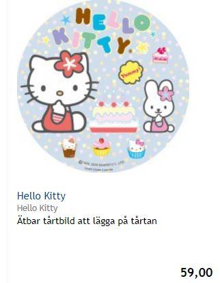 Hello Kitty ätbar tårtbild