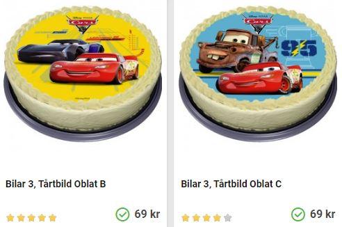 Beställ bildtårta med bilar från Biarnkalaset