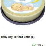 tårtbild med babytema