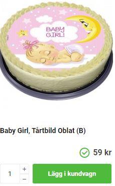 rosa tårtoblat med baby