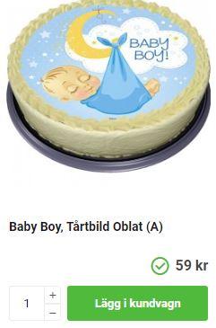 Blå tårtbild med baby