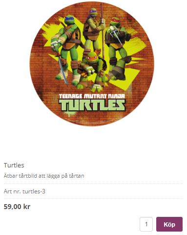 bildtårta med turtles 3