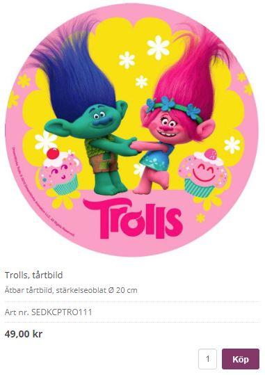 tårtbild trolls 3