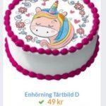 unicorn på tårta