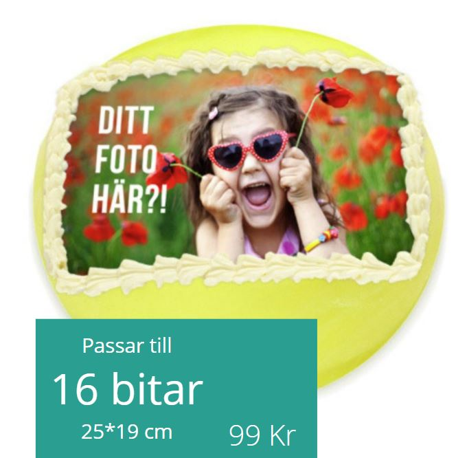 tårtbild med eget foto kvadrat
