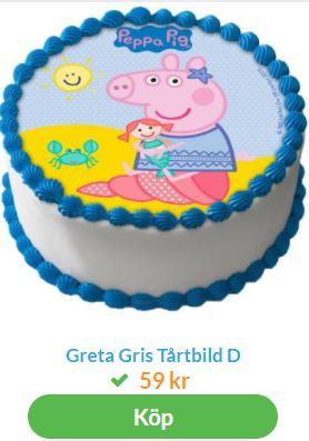 Bild på greta gris på tårtan